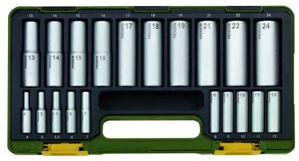 Proxxon Spezial-Steckschlüsselsatz mit Tiefbetteinsätzen, 20-teilig.